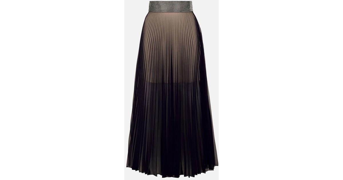 a92bcd6267 Christopher Kane Crystal Mesh Pleated Skirt in Black - Lyst