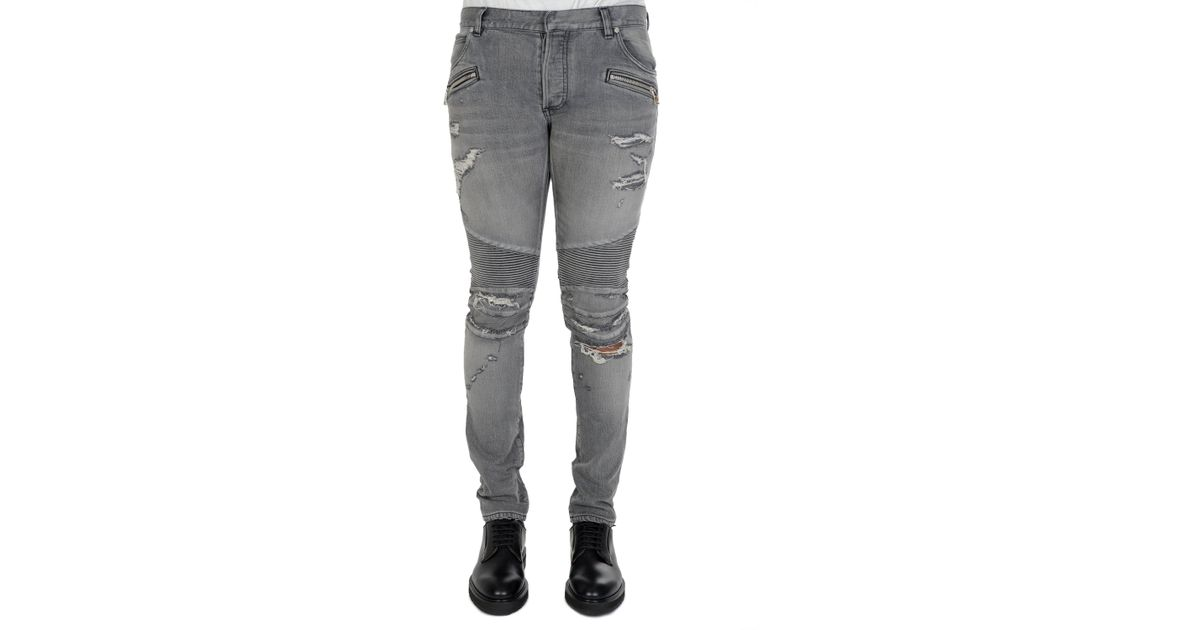 72784db2598 Balmain Distressed Biker Skinny Jeans in Gray for Men - Lyst