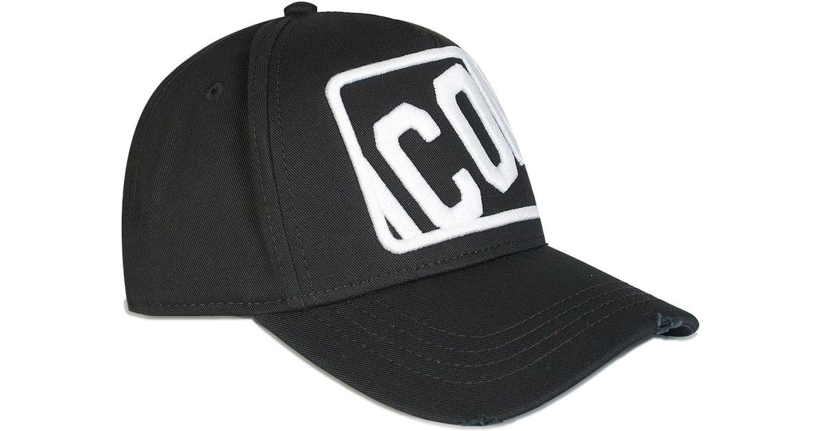 b39e1dce93bb DSquared² Dsquared Box Icon Baseball Cap Black in Black for Men - Lyst