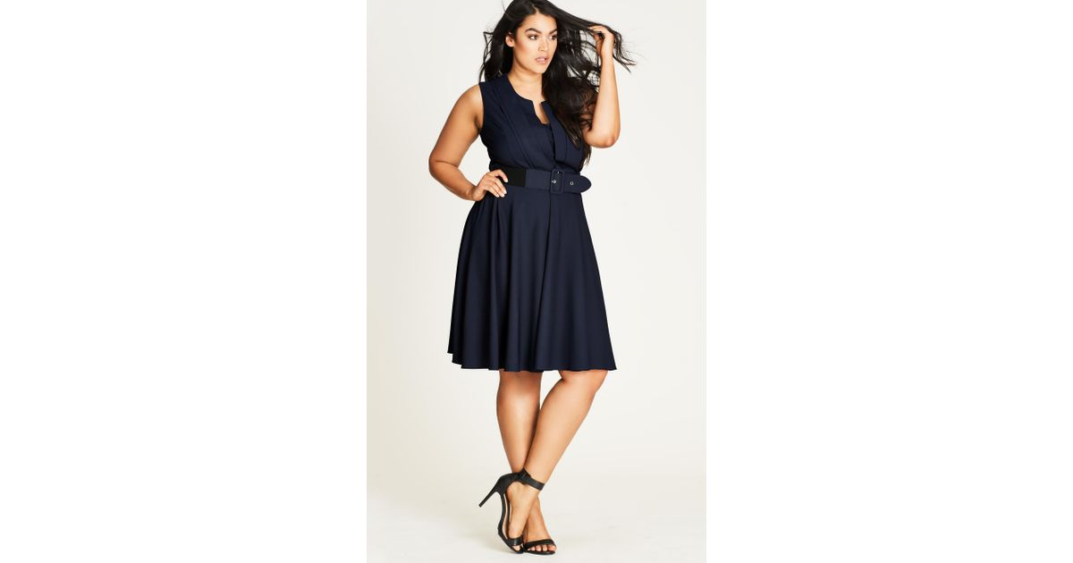 20c41d8ef3c0 Lyst - City Chic Navy Vintage Veronica Fit   Flare Dress in Blue - Save 51%
