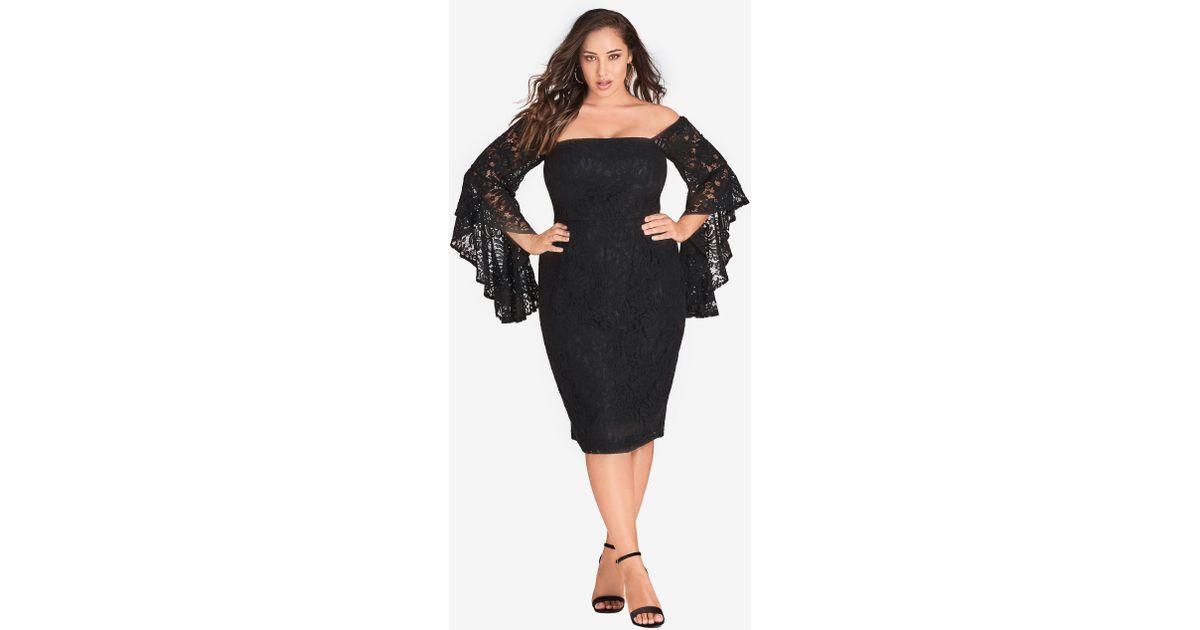 Lyst City Chic Mystic Lace Dress Black In Black