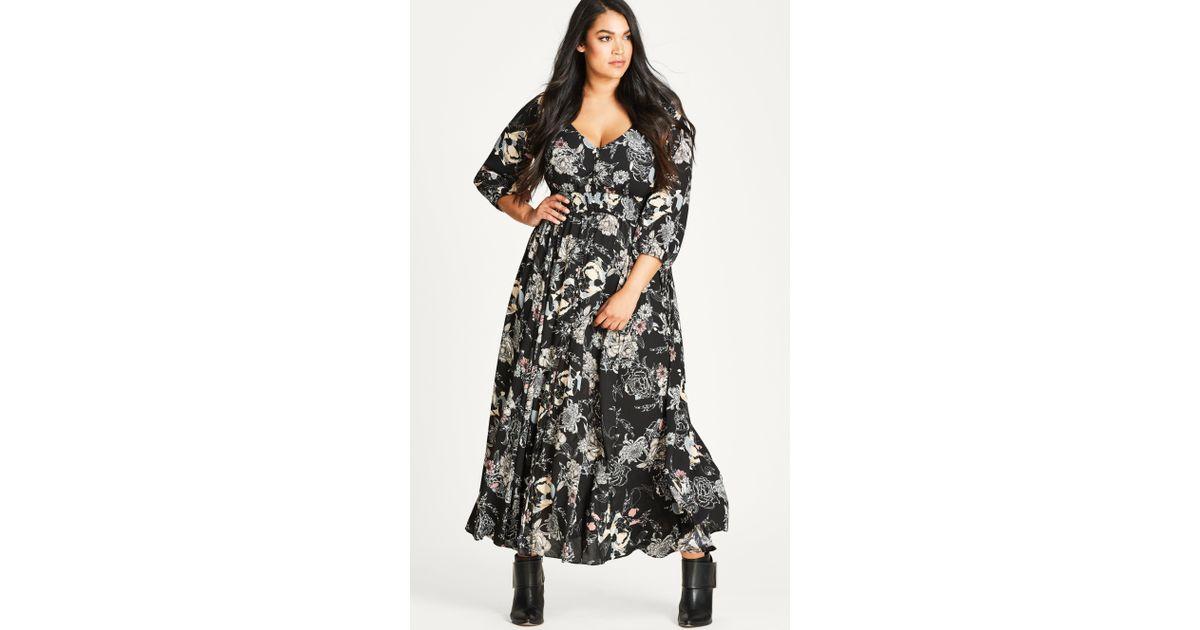 01109cc78ca2c City Chic Lush Floral Maxi Dress in Black - Lyst