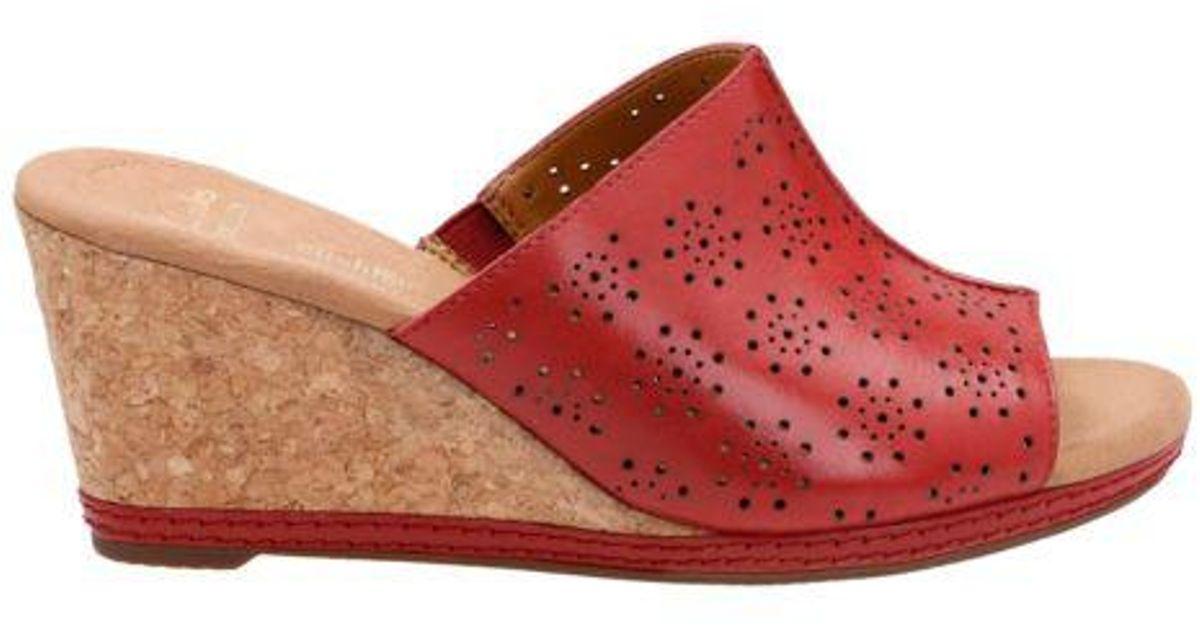 c1b18c5389b Lyst - Clarks Women s Helio Corridor Wedge Sandals in Red