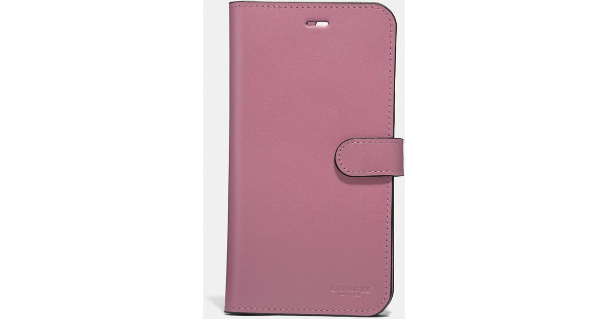 huge selection of b97fc 4aece COACH - Pink Iphone 7 Plus/8 Plus Folio - Lyst