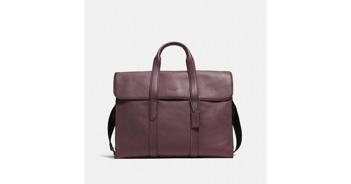 bd830218fe Lyst - COACH Metropolitan Portfolio In Refined Pebble Leather in Purple for  Men