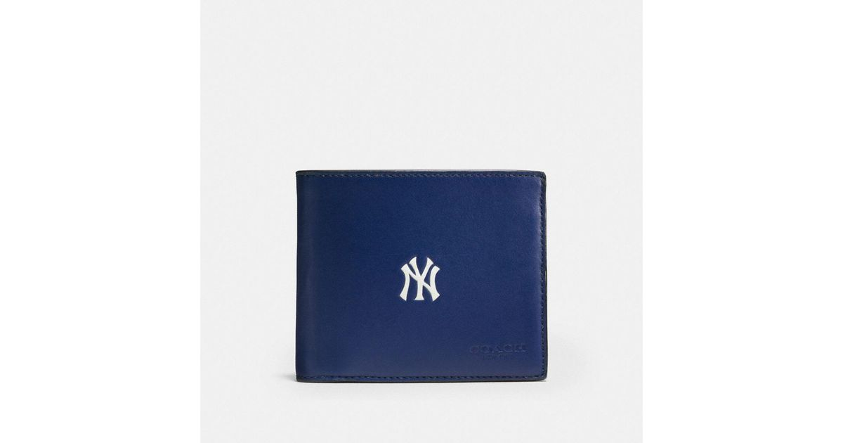 daebb7ce11 COACH Blue Mlb Compact Id Wallet In Sport Calf Leather for men