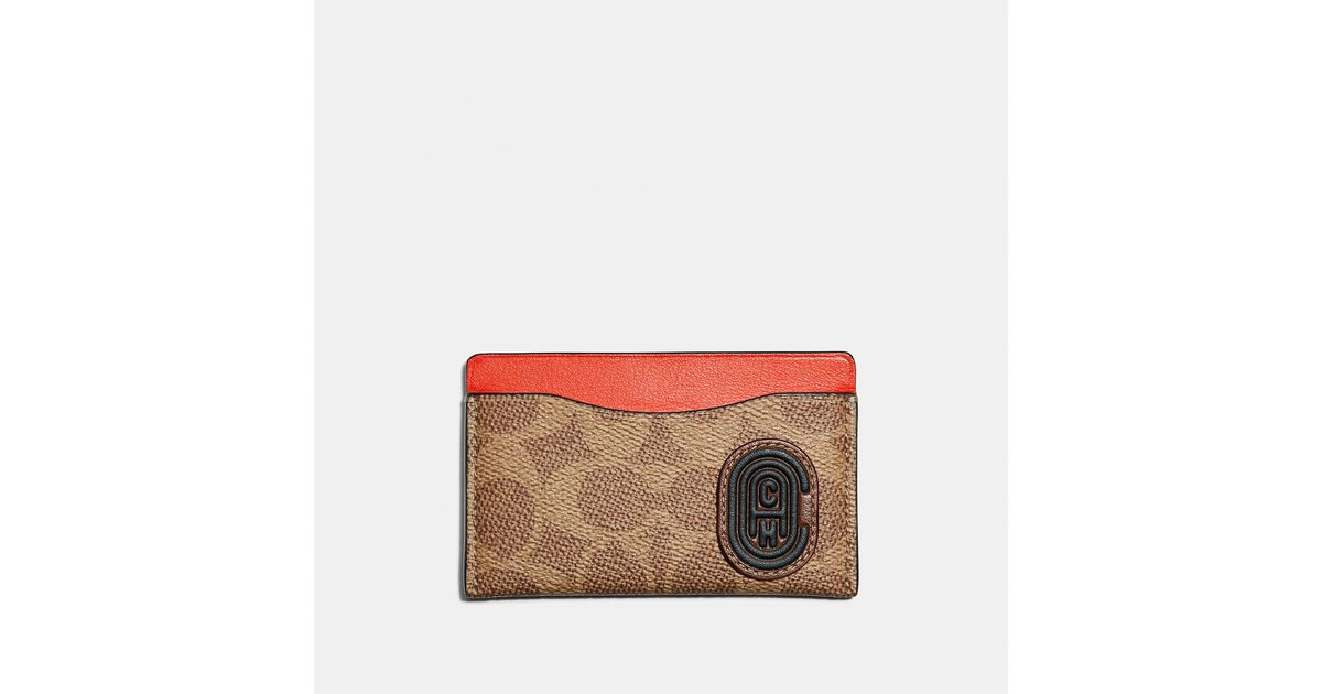 1b814ac4ea COACH Multicolor Small Card Case With Signature Canvas Blocking And Patch  for men