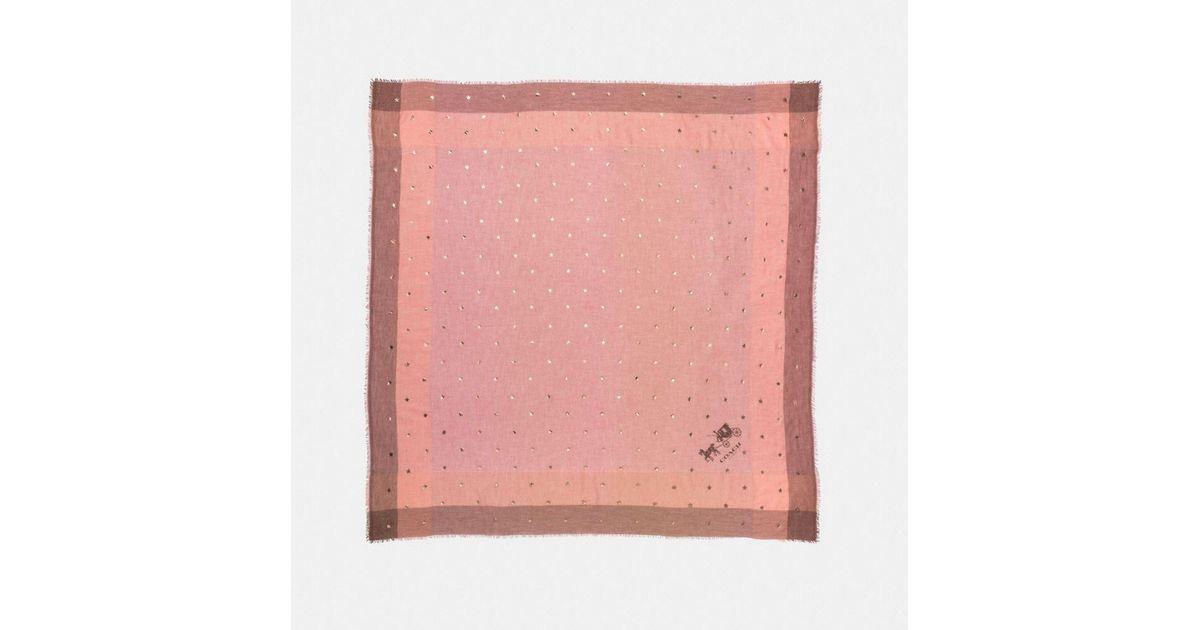 74273ded7c COACH Pink Scattered Stars Foil Print Windowpane Challis