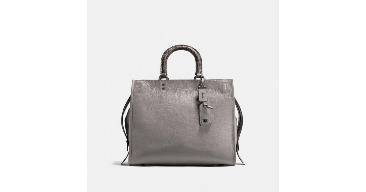 bd5e7a7276 COACH Rogue 36 With Colorblock Snake Detail in Gray - Lyst