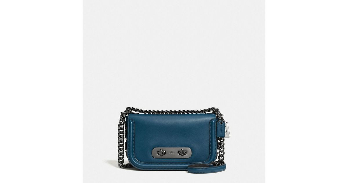 f366954c64ed Lyst - COACH Swagger Shoulder Bag 20 In Glovetanned Leather With Willow  Floral in Blue