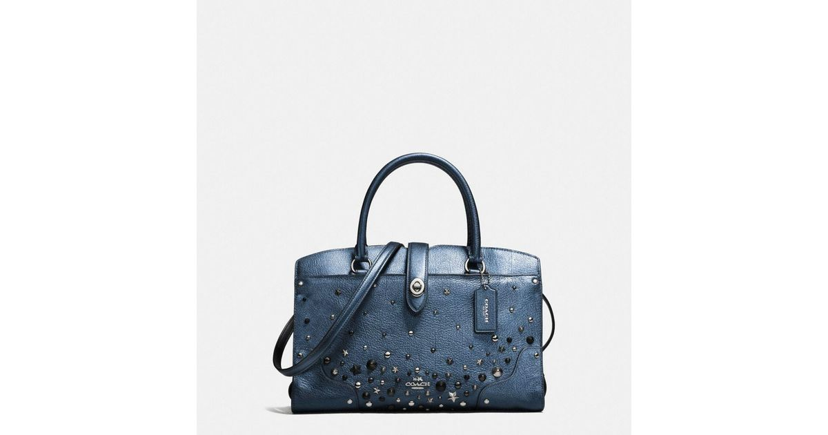 452335cc8c215 Lyst - COACH Mercer Satchel 30 In Metallic Leather With Star Rivets in Blue