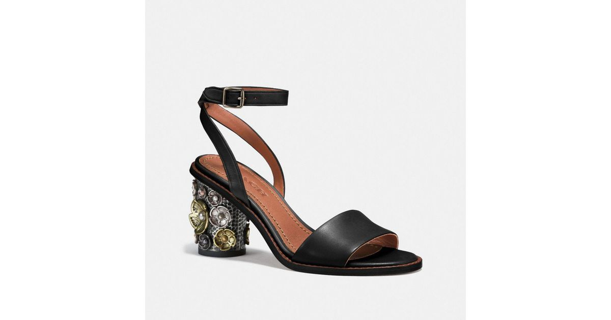 c8de6682a ... cheapest lyst coach mid heel sandal with tea rose in black save  16.949152542372886 23934 471fc