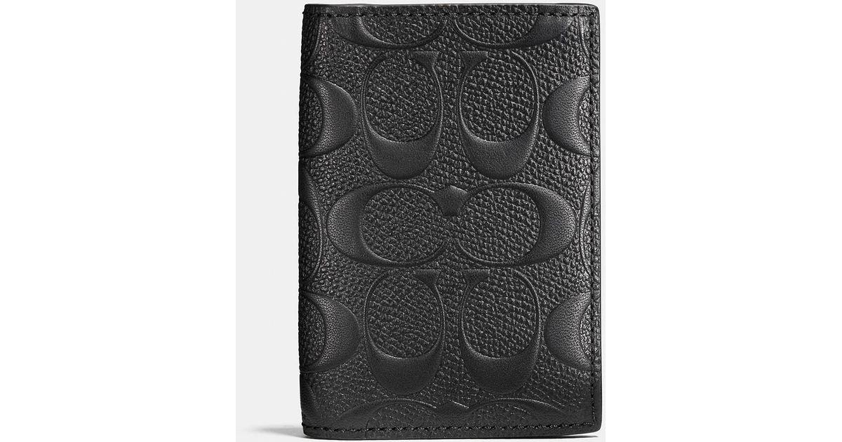 promo code 3478e 63303 COACH Black Bifold Card Case In Signature Crossgrain Leather for men