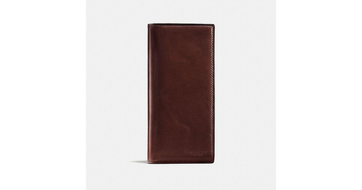 4303fd1b COACH Brown Boxed Breast Pocket Wallet In Water Buffalo Leather for men
