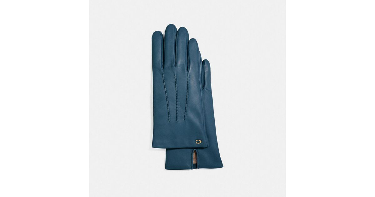 f4216ad234d91 COACH Sculpted Signature Short Leather Gloves in Blue - Lyst