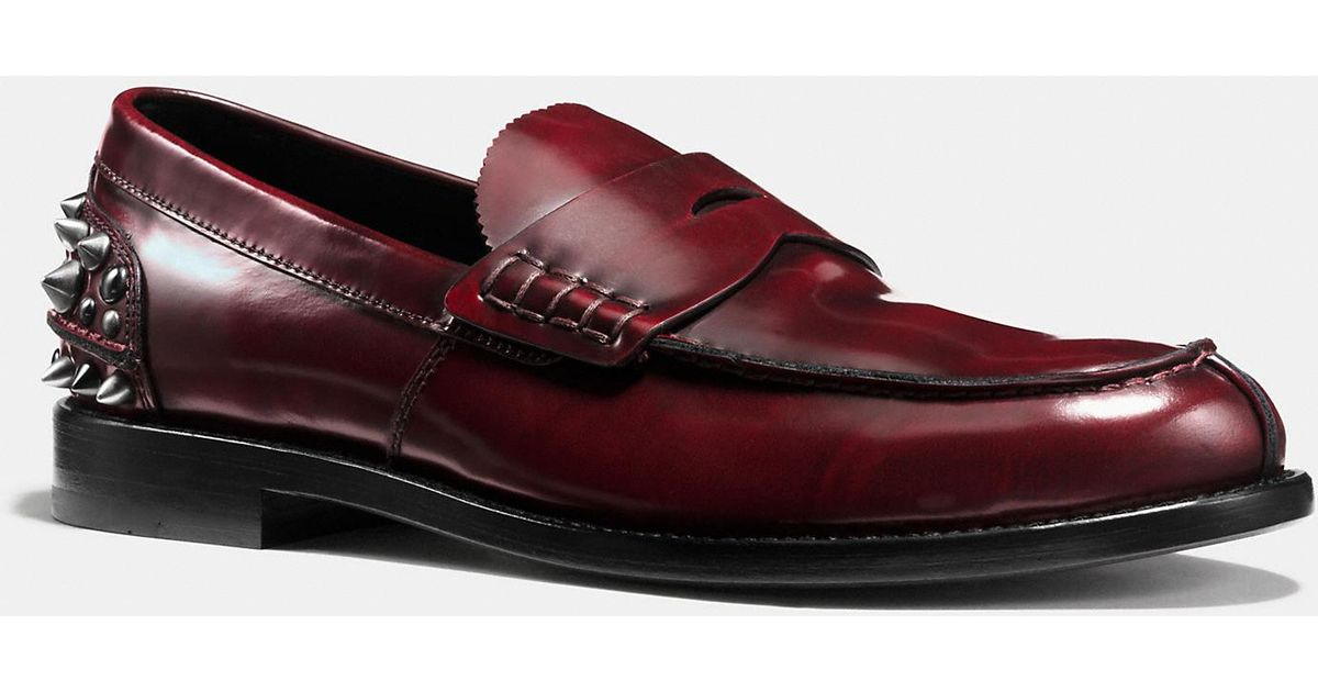 Coach Studded Loafer In Red For Men Lyst