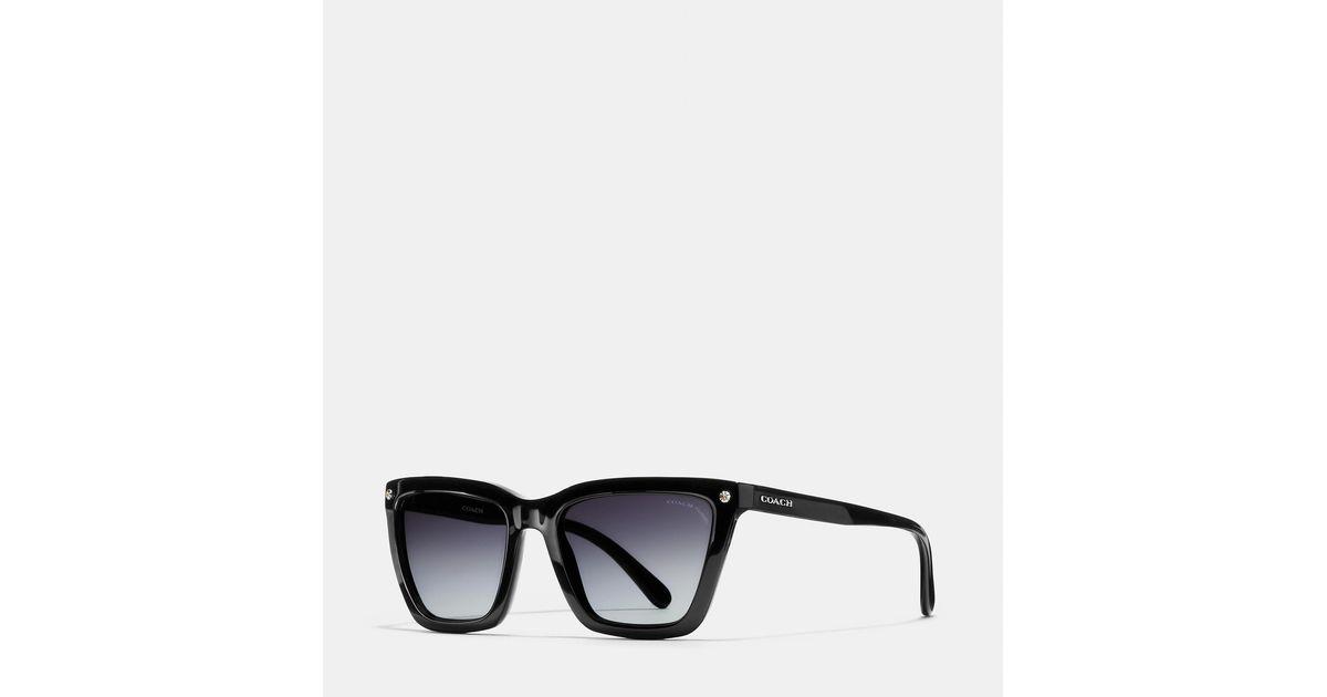 ddfec34b42ed COACH New York Square Sunglasses in Black - Lyst