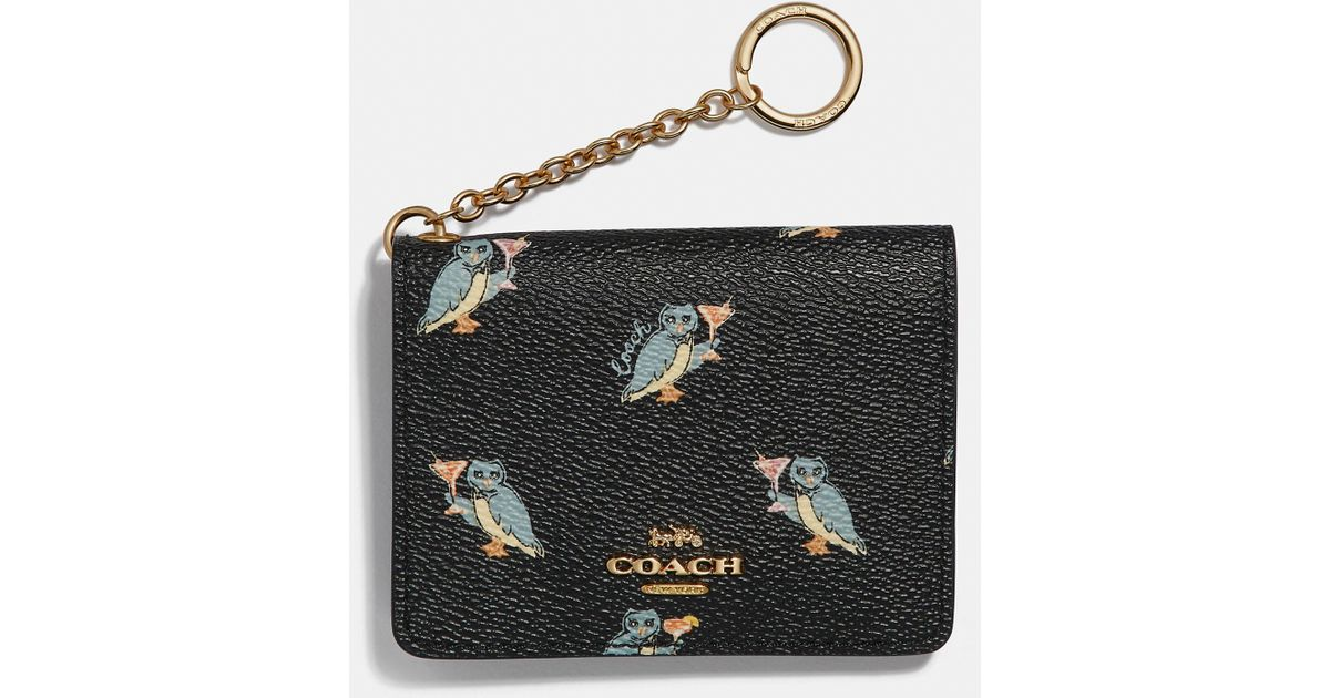 05ed8955 COACH Black Key Ring Card Case With Party Owl Print