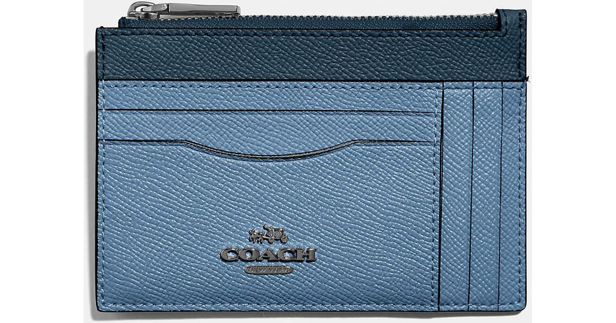 factory authentic 37ef0 a4fe9 COACH Blue Large Card Case In Colorblock
