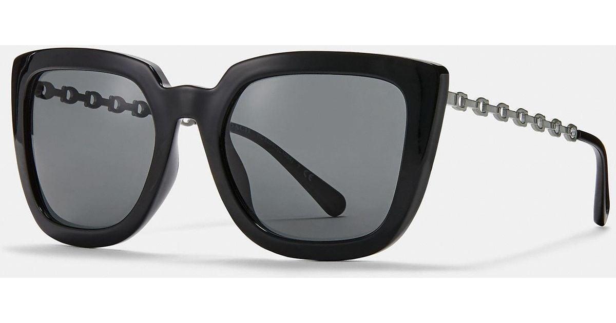 650ca0eb627f ... buy lyst coach signature chain large square sunglasses in black 321f4  893c8