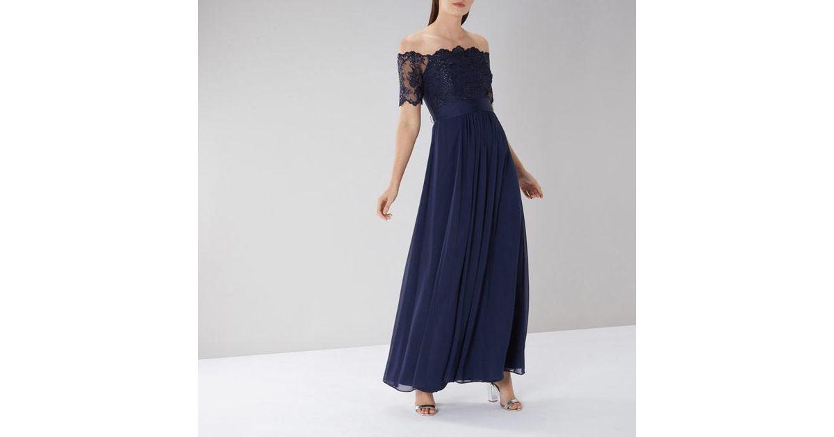 686d643db53 Coast Navy  maddie  Lace Bardot Maxi Dress in Blue - Save 79% - Lyst