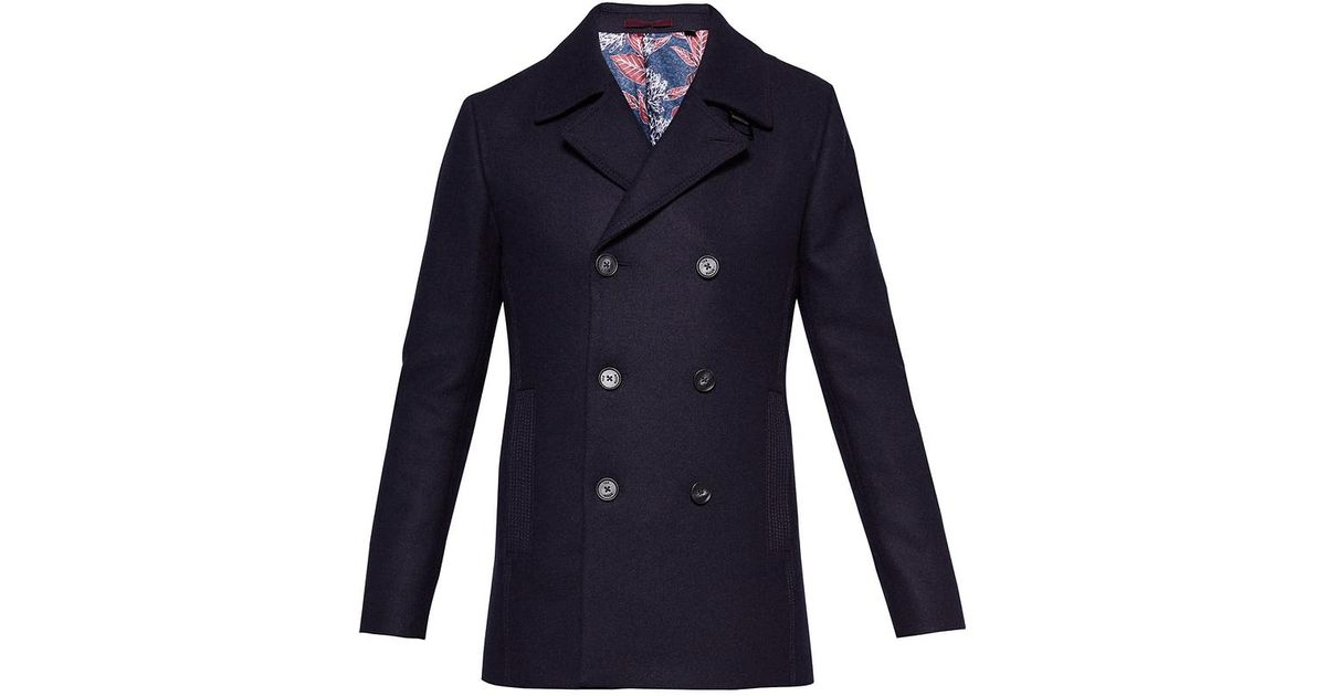 dfd16ca5f66bc Lyst - Ted Baker Zachary Wool Peacoat in Blue for Men