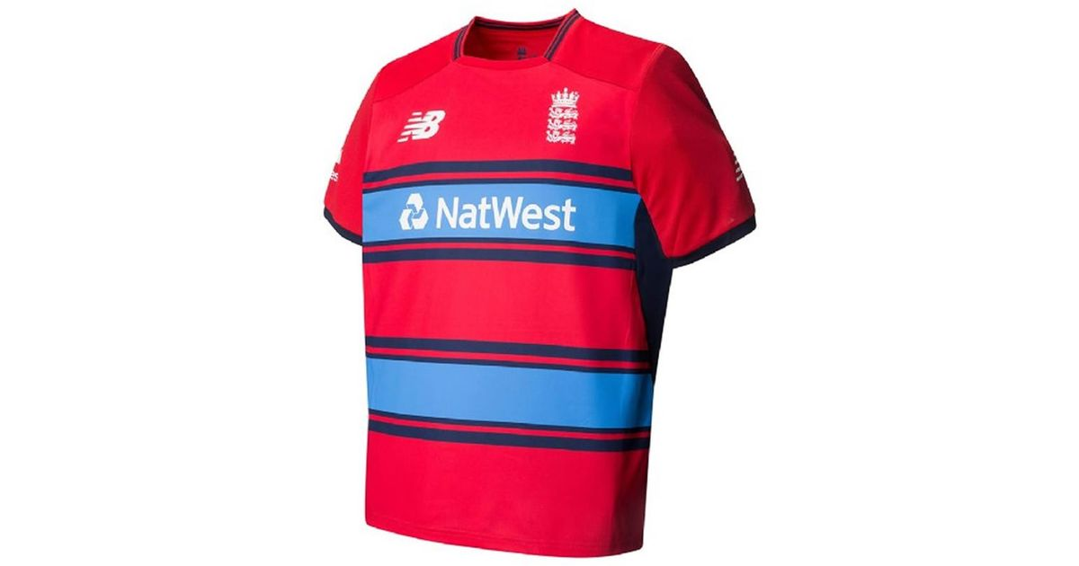 34ad3266 New Balance Red England Replica Short Sleeve Tee T20 Cricket Shirt for men