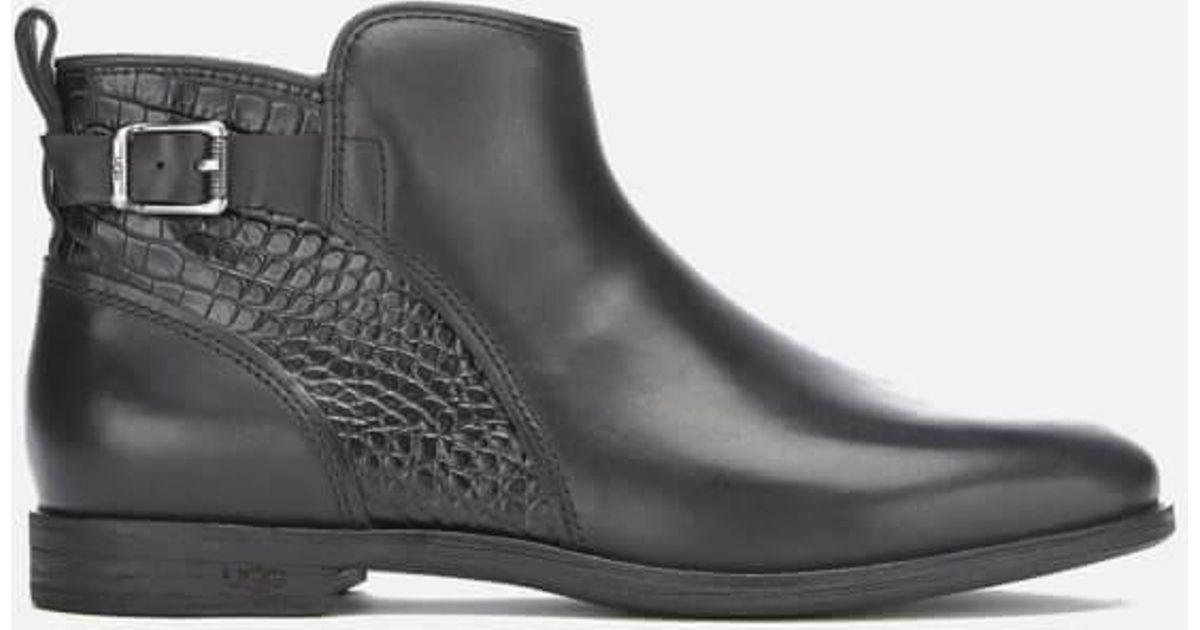 593c827233d Ugg Black Women's Demi Croc Leather Flat Ankle Boots