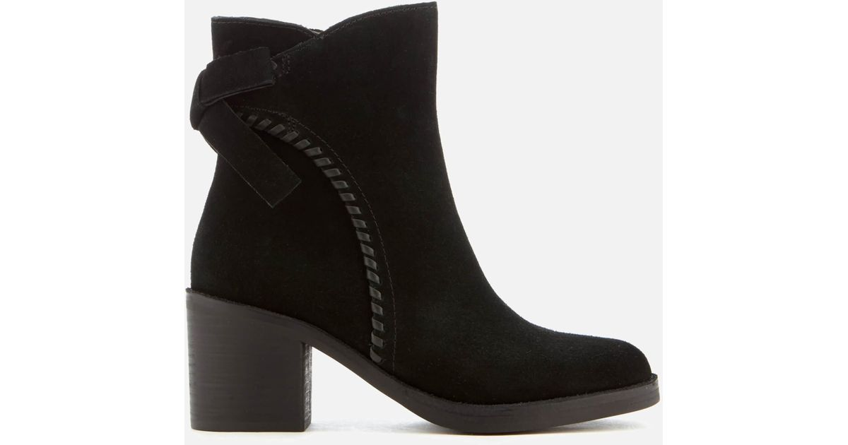 acedfade82e Ugg Black Fraise Whipstitch Suede Heeled Ankle Boots
