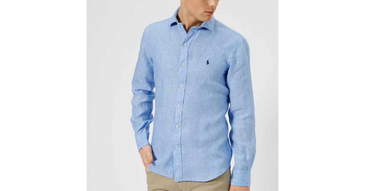 fec65009 Polo Ralph Lauren Blue Men's Long Sleeve Linen Shirt for men