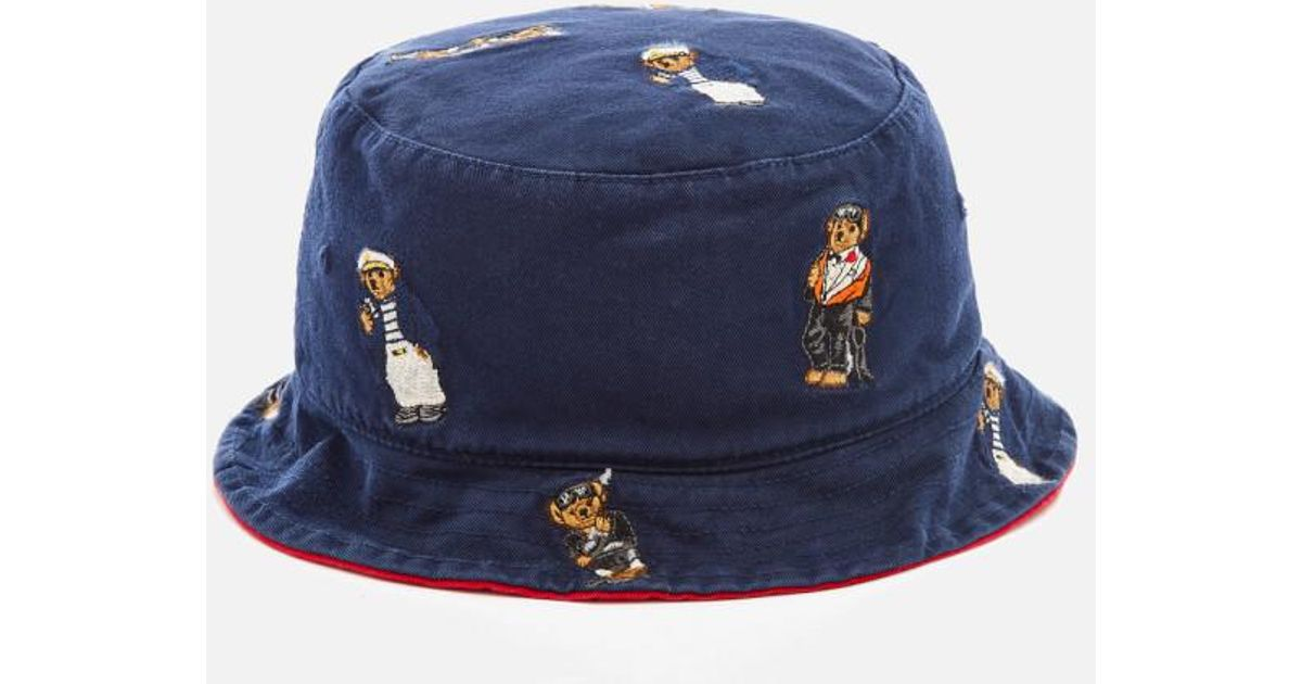3aceebf753e61 Polo Ralph Lauren Men s Cotton Chino Bear Bucket Hat in Blue for Men - Lyst
