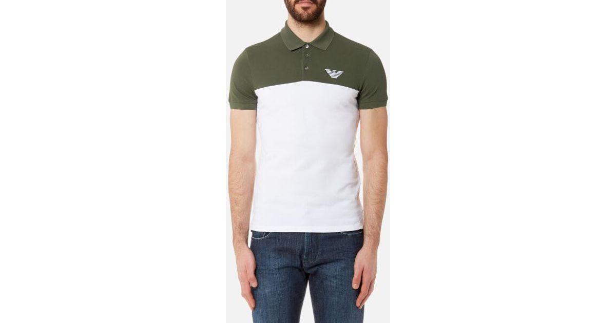 fcb9e058fae51 Emporio Armani Men s Twin Colour Polo Shirt in Green for Men - Lyst