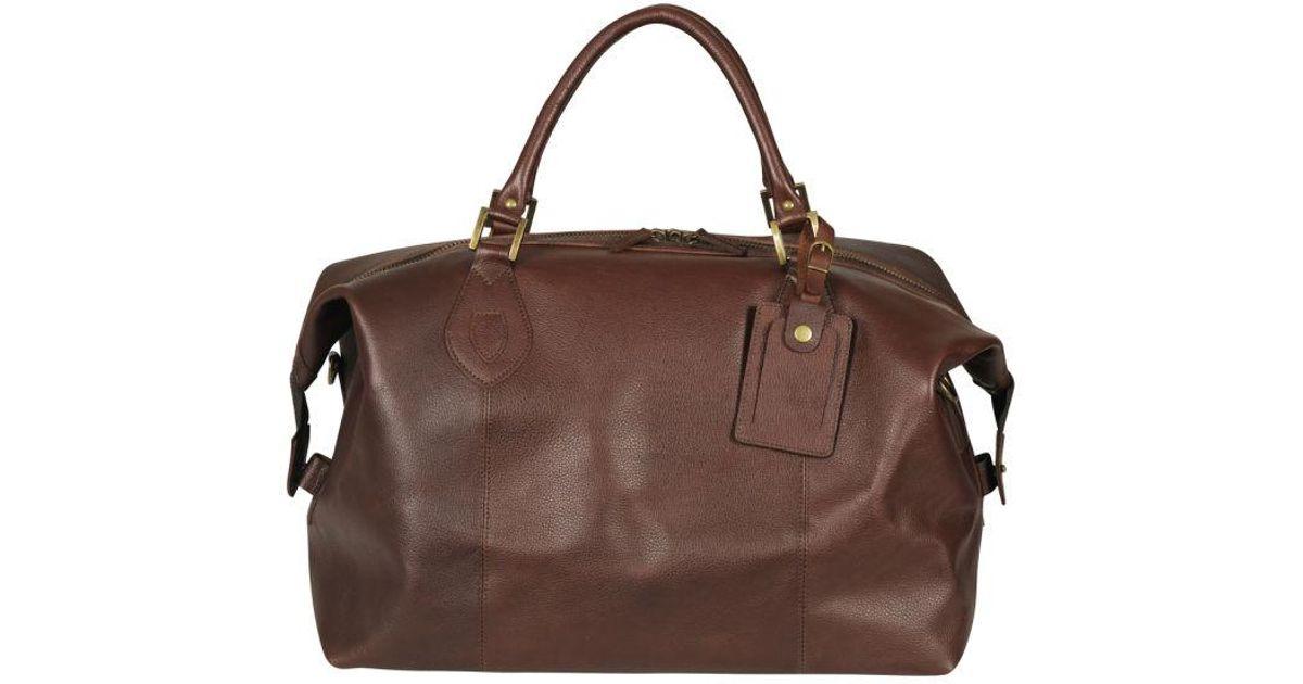 70fcbfb97d8 Barbour Brown Men's Leather Medium Travel Explorer Bag for men