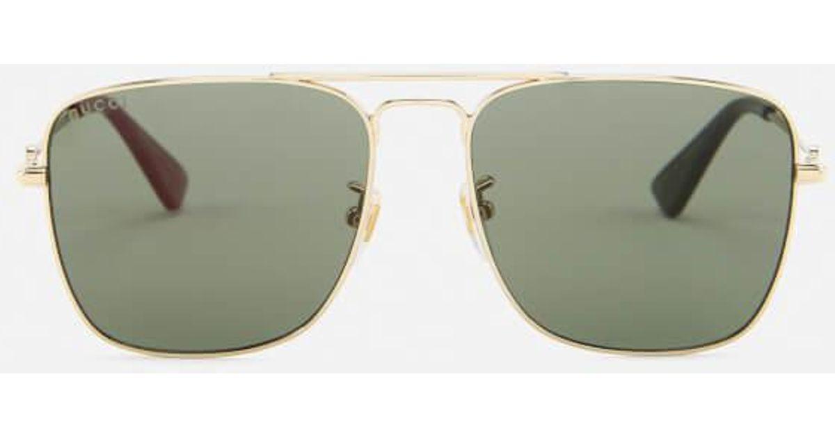 d770b94b5944e Gucci Men s Square Metal Frame Sunglasses in Metallic for Men - Lyst