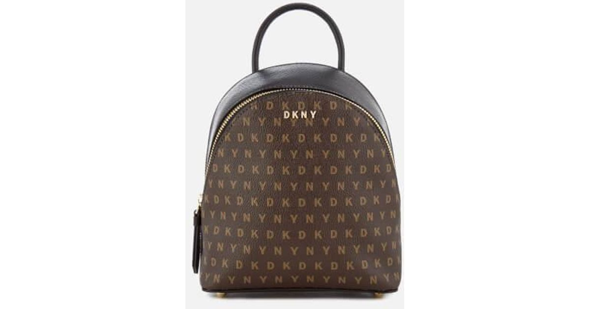 Dkny Leather Women S Coated Logo Mini Backpack In Brown Lyst