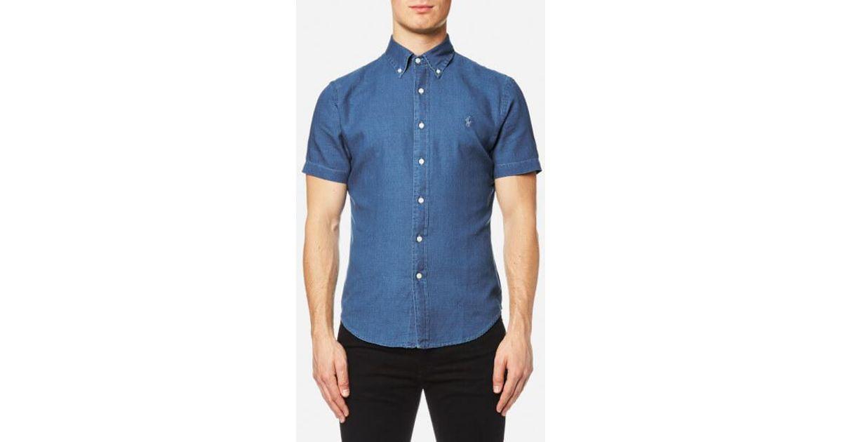 e1649c22c19a Lyst - Polo Ralph Lauren Men s Short Sleeve Slim Fit Oxford Shirt in Blue  for Men