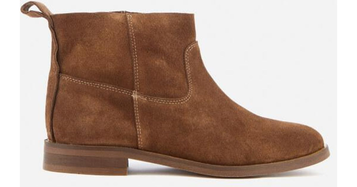3bf69ea4b5c17 H By Hudson Women s Odina Suede Flat Boots in Brown - Lyst