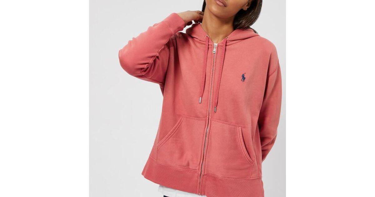 70dd40236021 Polo Ralph Lauren Women s Logo Hooded Sweatshirt in Red - Lyst