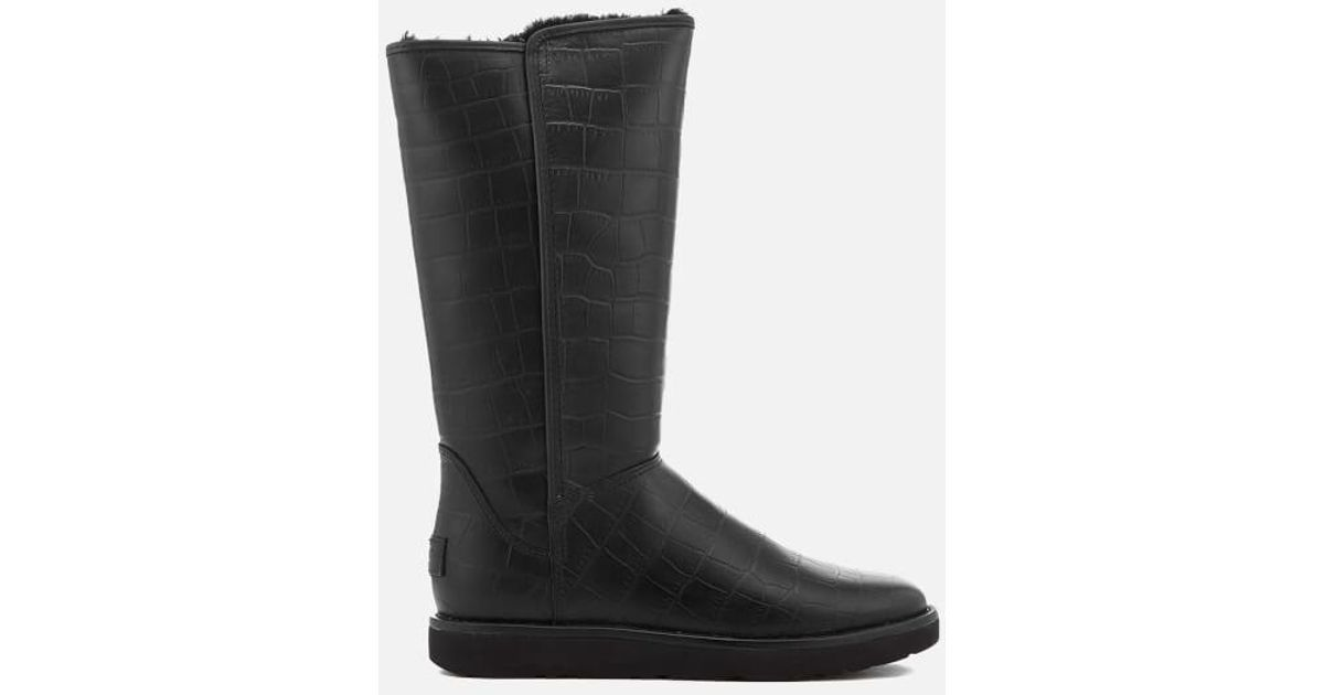 f825ceaa336 Ugg Black Women's Abree Ii Classic Luxe Croc Leather Tall Boots