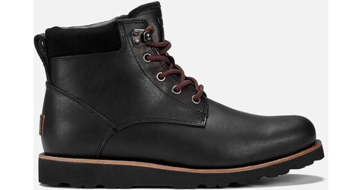 4ba177820ad Ugg Black Men's Seton Tl Waterproof Leather Lace Up Boots for men