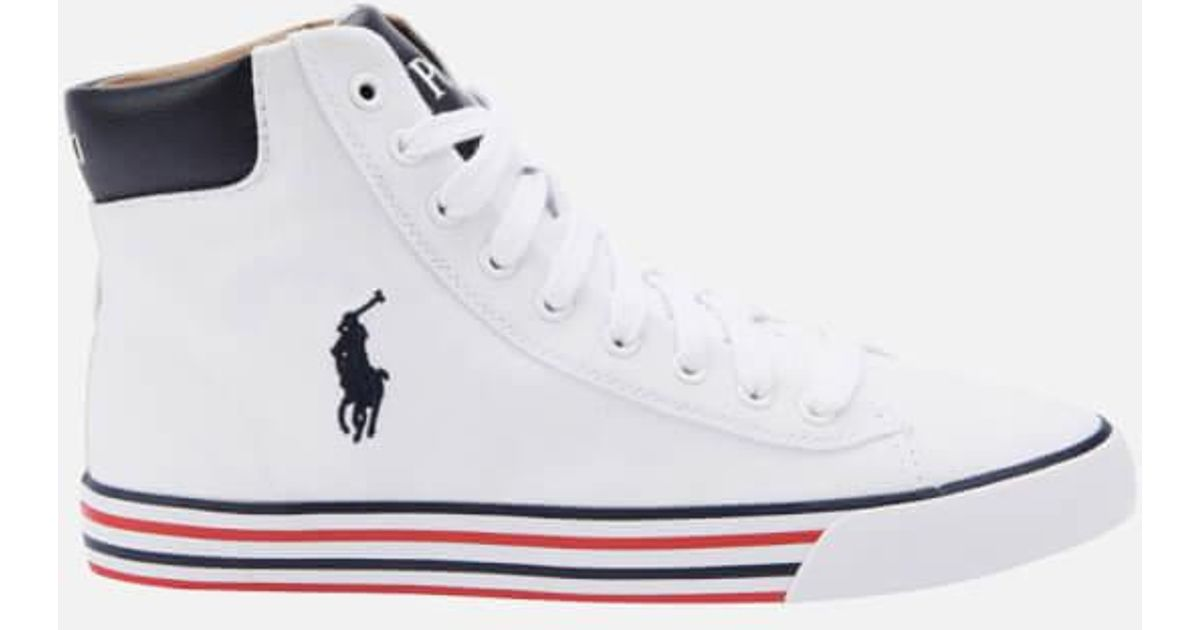 Harvey Hitop Lauren Ralph Men Midne Polo Men's White Trainers For Yb67gfy