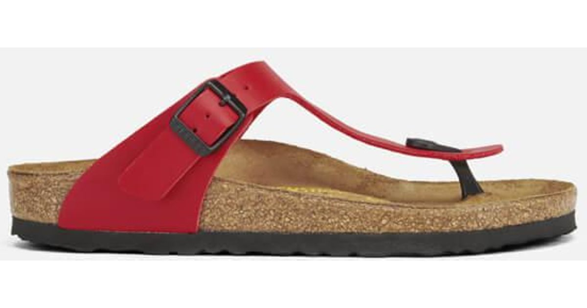 abd3b07306a Birkenstock Gizeh Toe-post Leather Sandals in Red - Lyst