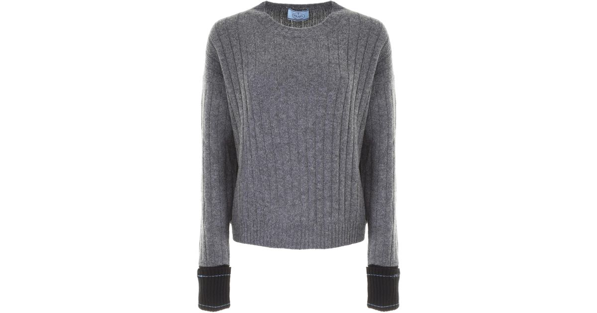 a3bafe086655 Lyst - Prada Knitted Pullover in Gray - Save 6%