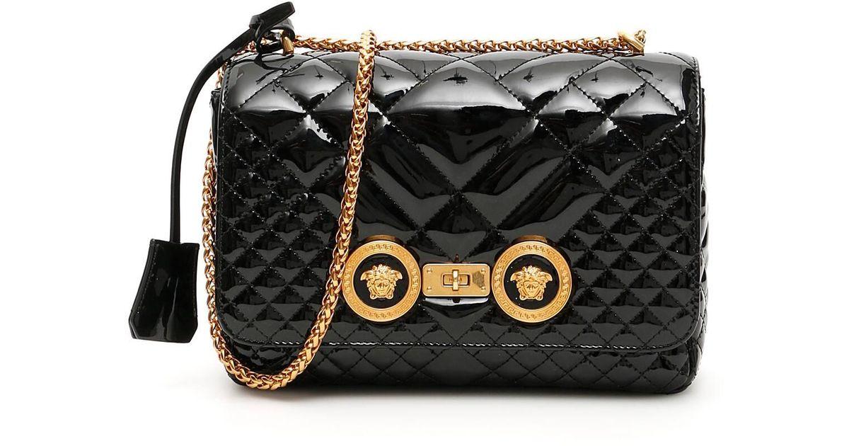 0d9dbad5 Versace Black Matelasse' Patent Icon Bag