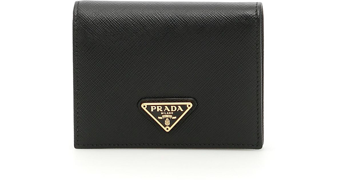 271e474608eccc Prada Leather Saffiano Wallet in Black - Lyst