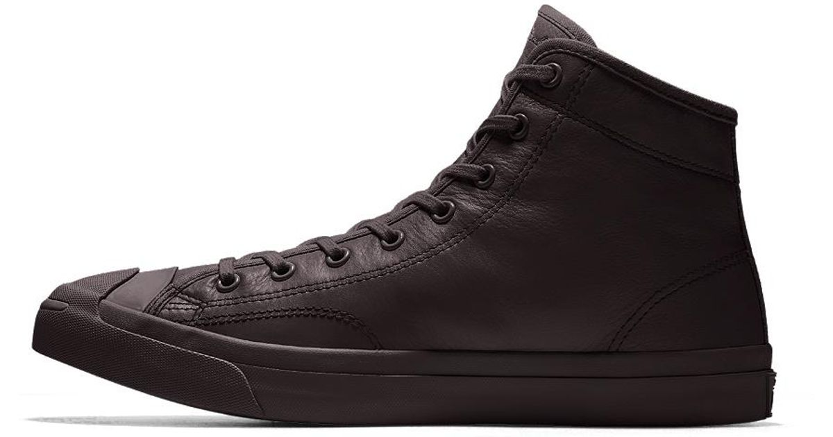 1081ad35f5ed Lyst - Converse Custom Jack Purcell Premium Leather Mid Top Shoe in Black  for Men