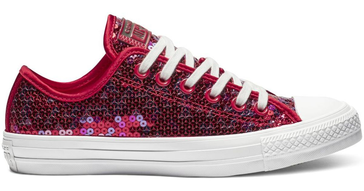 7b7c863f7343 Converse Chuck Taylor All Star Holiday Scene Sequin Low Top in Red - Lyst