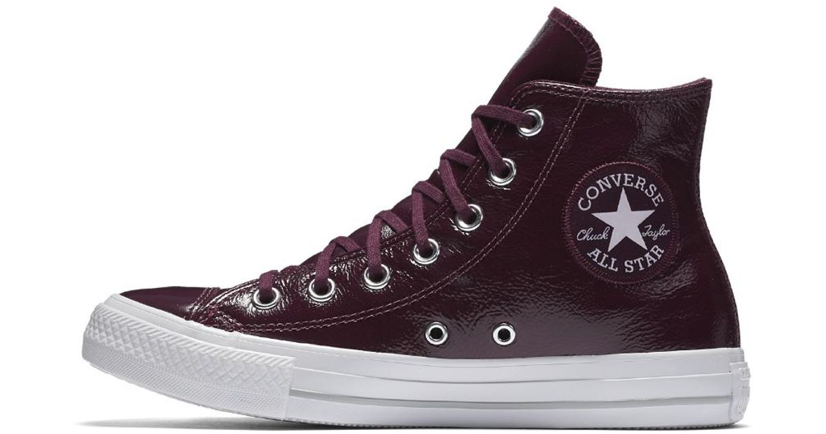 b4c1f6004976 Lyst - Converse Chuck Taylor All Star Crinkled Patent Leather High Top  Women s Shoe in Red