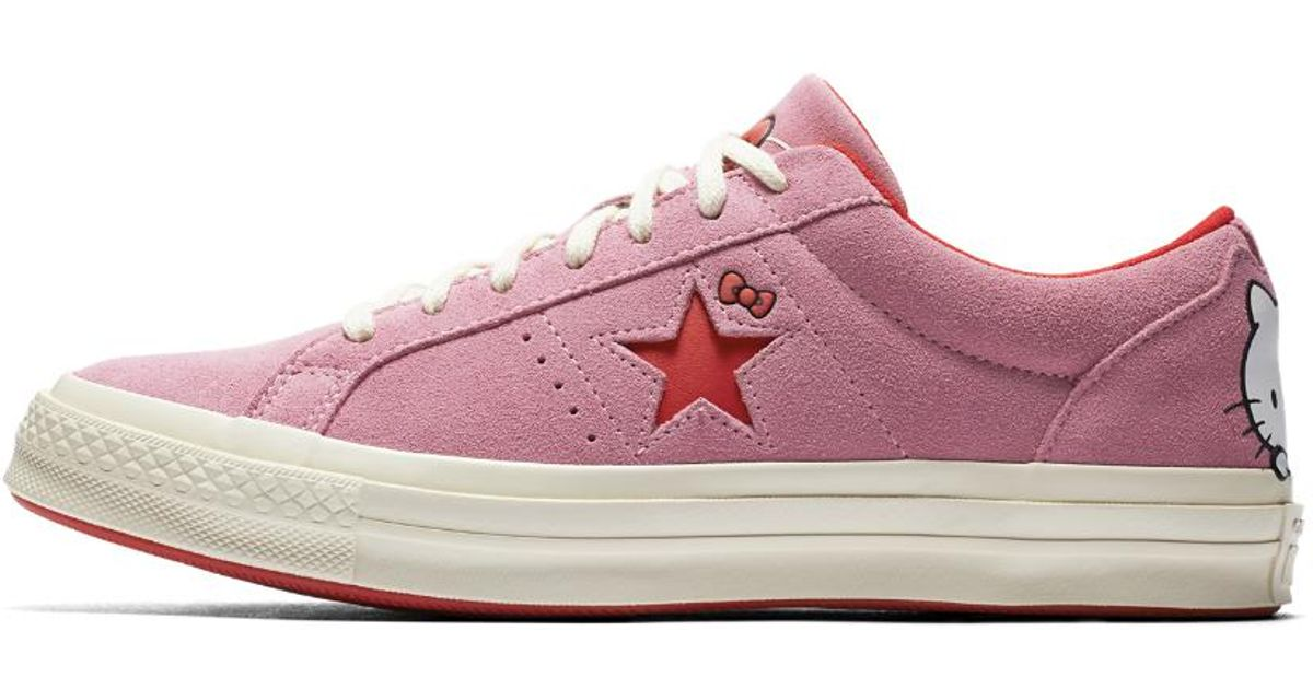Lyst - Converse X Hello Kitty One Star Suede Low Top Shoe in Pink c9e43c5ed