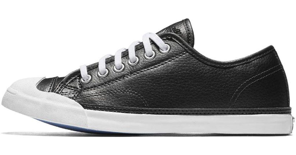 e290c0824fea Lyst - Converse Jack Purcell Lp Metallic Leather Low Top Women s Shoe in  Black